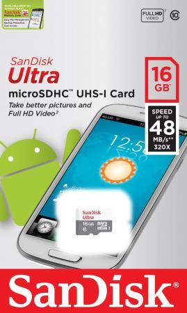 Карта памяти Micro SDHC 16Gb Class 10 Sandisk SDSQUNB-016G-GN3MN sandisk микро карта памяти 16gb