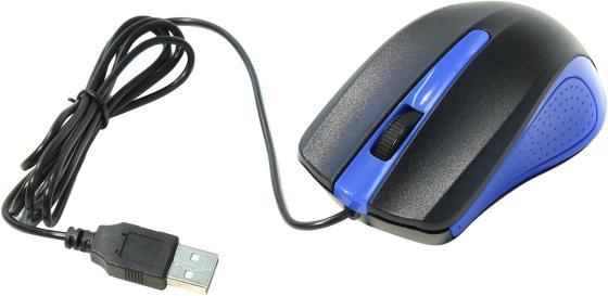 Мышь проводная Oklick 225M чёрный синий USB цена