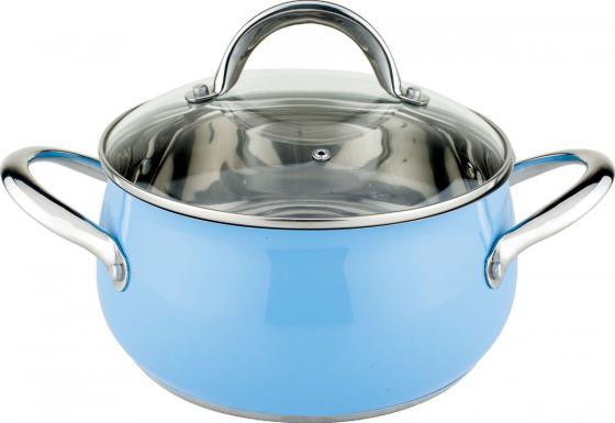 Кастрюля Winner WR-1218 3.2л 20см стеклянная крышка нержавеющая сталь голубой
