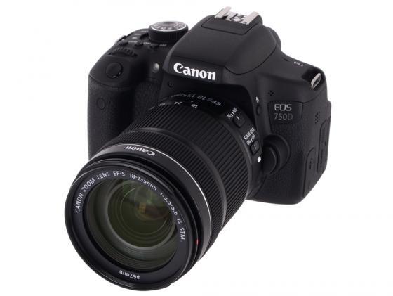 Зеркальная фотокамера Canon EOS 750D 18-135 IS STM 24Mp черный 0592C009 профессиональная цифровая slr камера canon eos 750d 750d 750d18 135 18 55