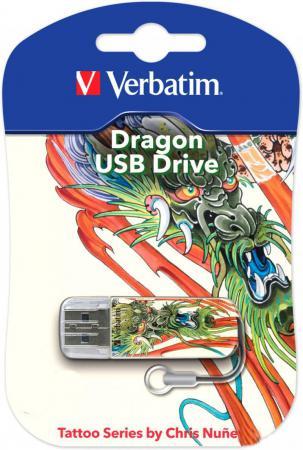 Флешка USB 16Gb Verbatim Mini Tattoo Edition Dragon 049888 USB2.0 белый с рисунком