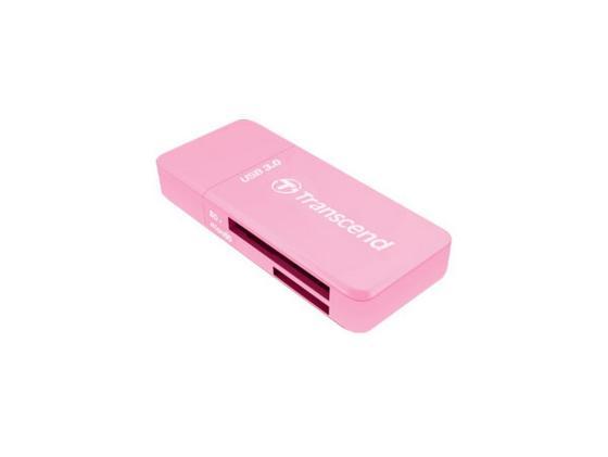 Картридер внешний Transcend TS-RDF5R USB3.0 SDHC/SDXC/microSDHC/microSDXC розовый картридер внешний transcend ts rdp5w sd sdhc mmc microsdhc m2 белый