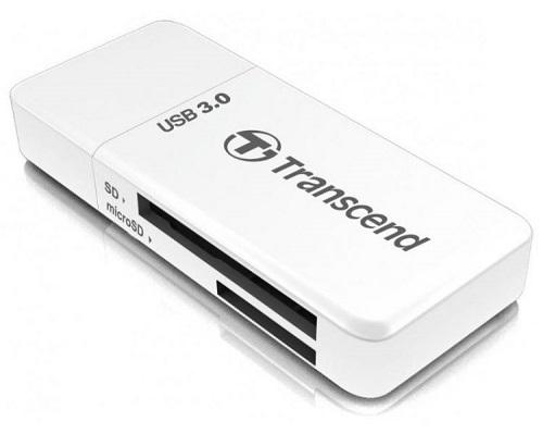 Картридер внешний Transcend TS-RDF5W USB3.0 SDHC/SDXC/microSDHC/microSDXC белый картридер внешний transcend ts rdf2 usb3 0 cfast 2 0 cfast 1 1 cfast 1 0 черный