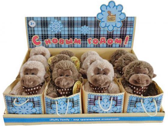 Мягкая игрушка обезьянка Fluffy Family 681154 12 см коричневый плюш интерактивная игрушка fluffy family бобер повторяшка от 3 лет 681012 коричневый