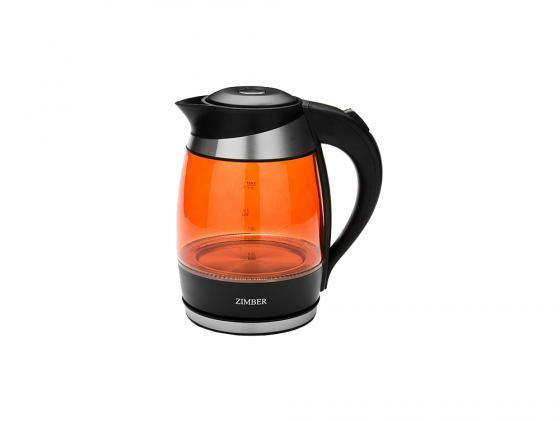 Чайник Zimber ZM-10978 2000 Вт 2 л пластик чёрный оранжевый чайник zimber zm 10818 2000 зелёный 1 8 л металл стекло