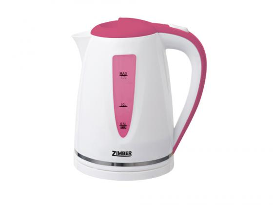 Чайник Zimber ZM-10853 2200 Вт 1.7 л пластик белый розовый чайник zimber zm 11130 1500 вт зелёный 1 8 л металл