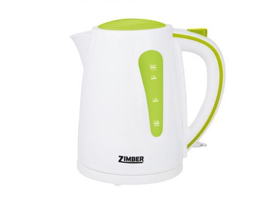 Чайник Zimber ZM-10842 2200 Вт 1.7 л пластик белый зелёный чайник zimber zm 10818 2000 зелёный 1 8 л металл стекло