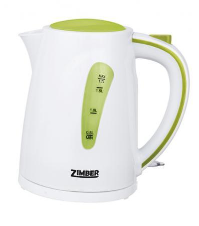 Чайник Zimber ZM-10838 2200 Вт 1.7 л пластик белый зелёный zimber zm 11026 black