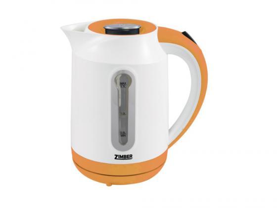 Чайник Zimber ZM-10825 2000 Вт 1.7 л пластик белый оранжевый чайник zimber zm 10818 2000 зелёный 1 8 л металл стекло