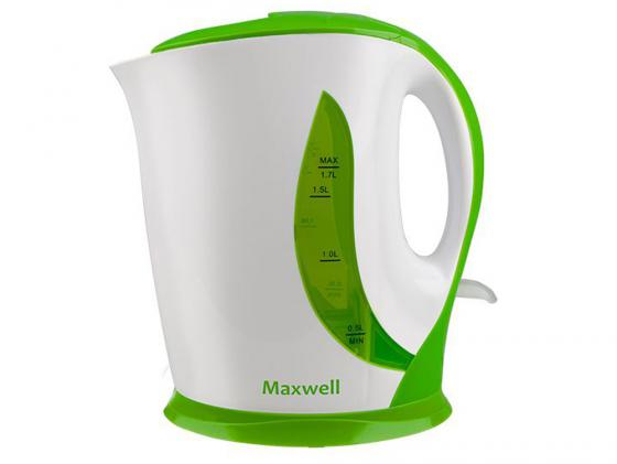 Чайник Maxwell MW-1062(G) 2200 Вт 1.7 л пластик белый зелёный фен maxwell mw 2015m gd 2200 белый золотистый