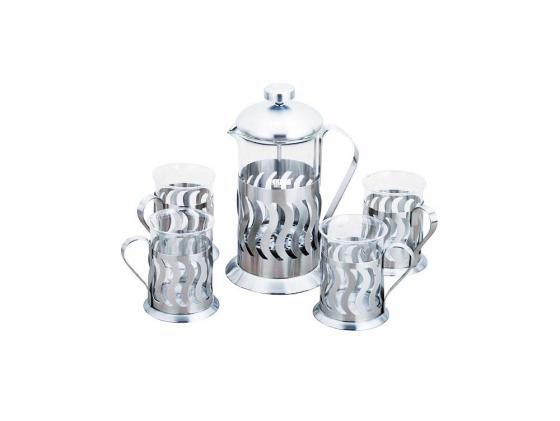 Чайный набор Bekker BK-367 0.6 л металл/стекло серебристый