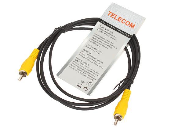 Кабель соединительный 1.5м VCOM Telecom RCA(M)-RCA(M) черный TAV4158-1.5M кабель межблочный аналоговый rca supra dual rca 2 m