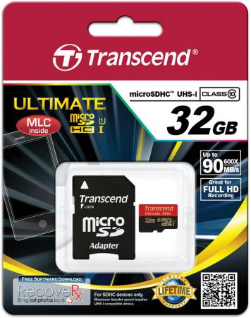 Карта памяти Micro SDHC 32Gb Class 10 Transcend TS32GUSDHC10U1 600x + адаптер SD карта памяти micro sdhc 4gb class 10 mirex 13613 ad10sd04 адаптер sd