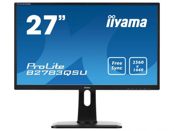 Монитор 27 iiYama B2783QSU-B1 черный TFT-TN 2560x1440 350 cd/m^2 1 ms DVI HDMI DisplayPort USB Аудио
