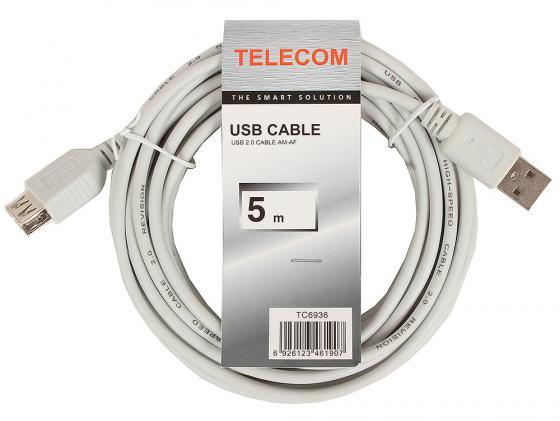 цена Кабель удлинительный USB 2.0 AM-AF 5.0м VCOM Telecom серый TC6936 6926123461907