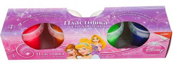 Тесто для лепки. Пластишка. Принцессы Disney, 4 цв., 115 гр. LORI Тдд-001 бел цв 001