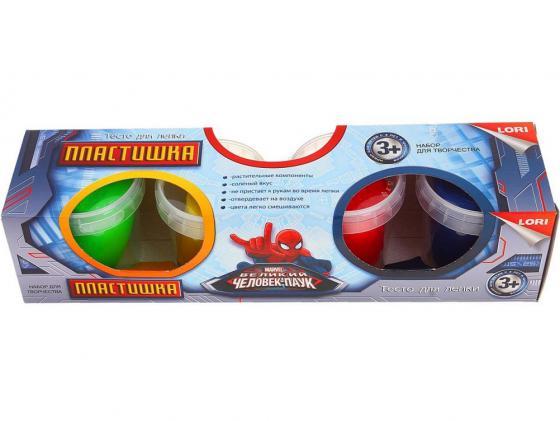 Тесто для лепки. Пластишка. Человек Паук 4 цв., 115 гр. LORI Тдд-002 lori фоторамки из гипса жирафы