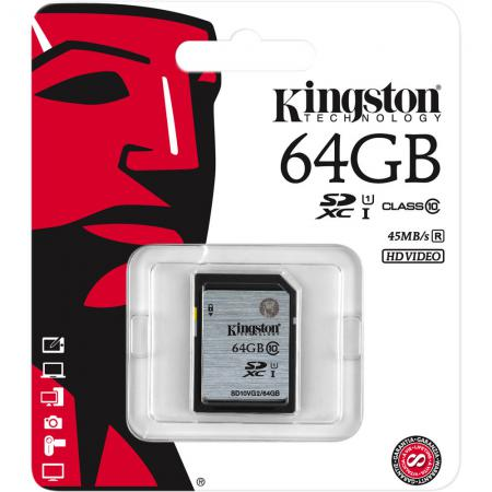 Карта памяти SDXC 64GB Class 10 Kingston SD10VG2/64GB sdxc kingston 64gb class10 g2 video sd10vg2 64gb