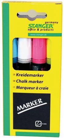 Набор маркеров Stanger 3 мм 4 шт голубой белый розовый желтый набор маркеров перманентных stanger m236 712020 скошенный пиш наконечник 1 4мм 4цв