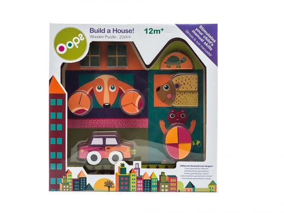 Пазл 20 элементов Oops Построй дом O 16006.20 деревянный пазл oops собака 9 элементов