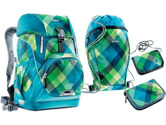 Школьный рюкзак ортопедический Deuter OneTwo + сумка для сменной обуви, пенал и кошелек 20 л синий зеленый 3830015-3216/SET2 deuter giga blackberry dresscode