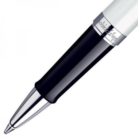 Ручка-роллер автоматическая Waterman Hemisphere White CT черный F чернила F посеребряные детали S0920950 ручка роллер waterman hemisphere mattblack ct f чернила черные корпус черный s0920850