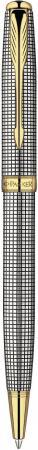 Шариковая ручка поворотная Parker Sonnet K534 Sterling Silver Cisele GT черный S0808170 parker шариковая ручка parker s0808170