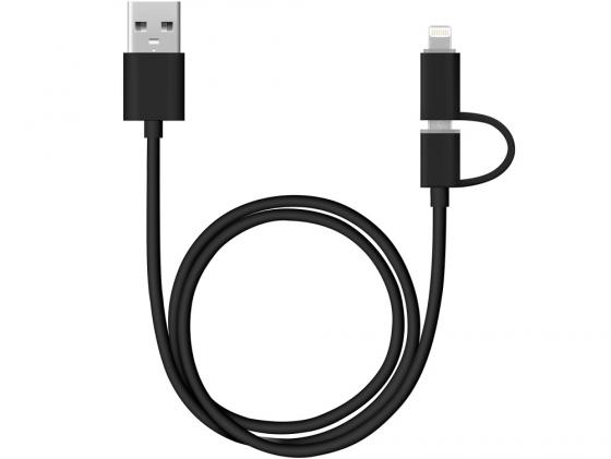 Кабель Deppa 2 в 1 для Apple USB-8-pin\\micro USB 1.2м черный 72204 usb кабель 3 в 1 remax gplex 3 in 1 cable rc 070th apple 8 pin micro usb usb type c черный