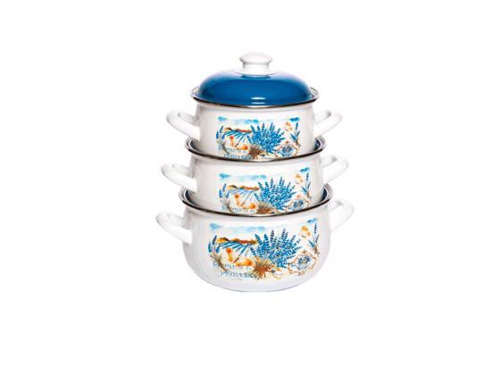 Набор посуды Interos 15248 Лаванда кастрюля эмалированная 3 1 л interos лаванда 3 1л 15248