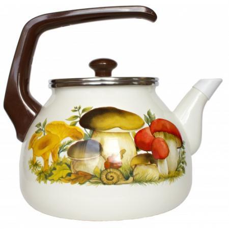Фото - Чайник INTEROS 15251 Грибы 2 л металл белый рисунок чайник interos 15157 аппетит 3 л металл белый рисунок