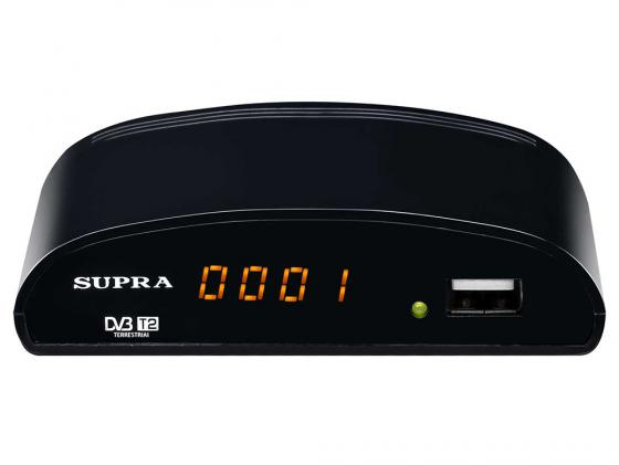 Тюнер цифровой DVB-T/DVB-T2 Supra SDT-83 черный тюнер supra sdt 83 black