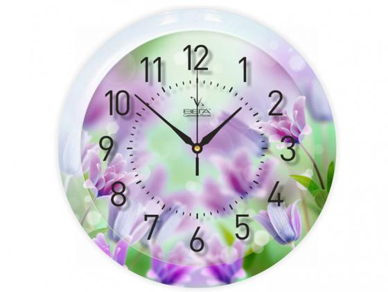 цена на Часы настенные Вега П 1-248/7-248 Фиолетовые цветы