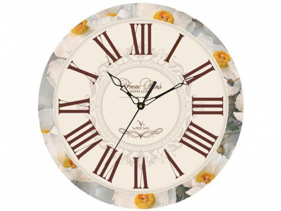 Часы настенные Вега П 1-245/7-245 рисунок белый часы настенные вега п 4 14 7 86 новогодние подарки