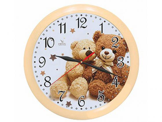 Часы настенные Вега П 1-14/7-216 Два медвежонка бежевый белый часы настенные вега п 4 14 7 86 новогодние подарки