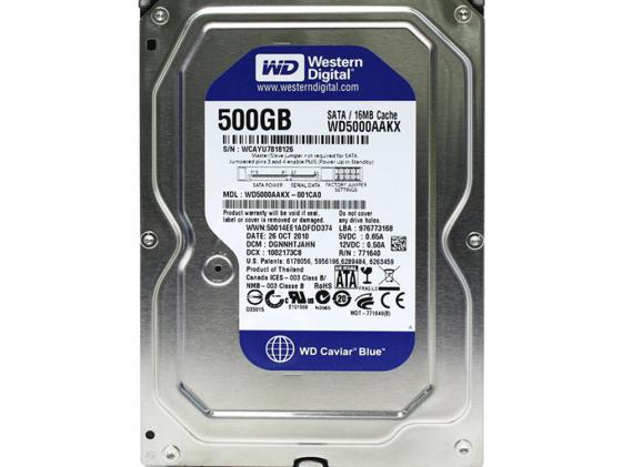Жесткий диск 3.5 500 Gb 5400rpm 64Mb cache Western Digital Blue SATAIII WD5000AZRZ hdd накопитель western digital wd blue mobile 500 gb wd5000lpcx