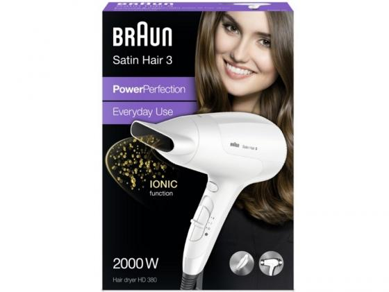 цена на Фен Braun HD 380 Satin Hair3 2000Вт белый