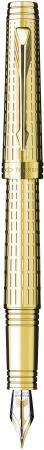 Перьевая ручка Parker Premier DeLuxe F562 Chiselling GT F позолота 23K S0887930 ручка перьевая parker premier deluxe f562 s0887970 chiselling st f перо золото 18k