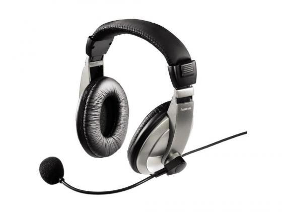 Гарнитура Hama AH-100 53994 черно-серебристый цены