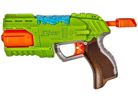 Бластер X-shot Атака Пауков (8патронов + 2 паука-мишени) зеленый 4801 бластер boomco smart shot