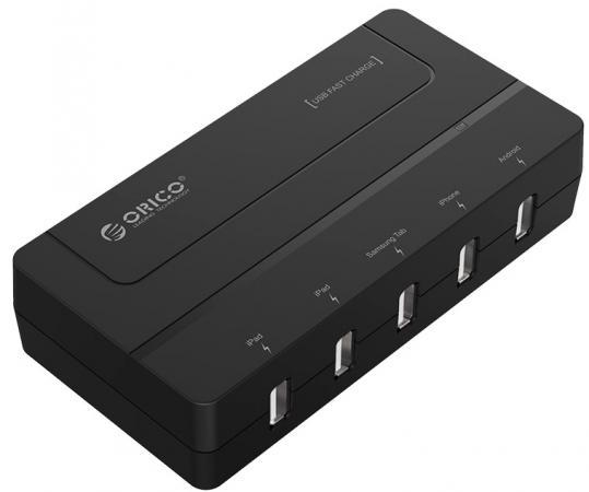 Сетевое зарядное устройство Orico DCH-5U-BK 5 х USB черный сетевое зарядное устройство orico qse 5u eu bk 4x2 4a 2a qc2 0 usb черное