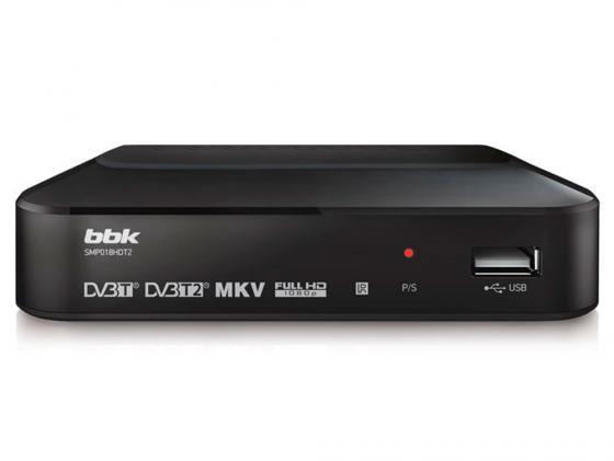 Тюнер цифровой DVB-T2 BBK SMP018HDT2 серый ресивер dvb t2 bbk smp018hdt2 темно серый