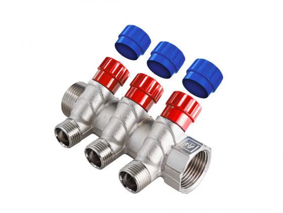 Коллектор с регул. вентилями, 3/4х2 вых. 1/2 нар. VALTEC VTc.560.N.0502 коллектор gf 3 4 внутр г х 4 отвода 1 2 нар ш х 3 4 нар ш регулируемый