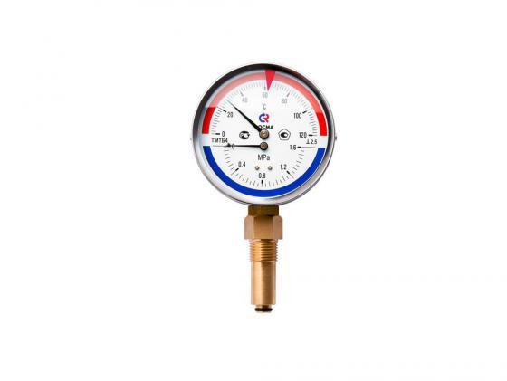 """Термоманометр ТМТБ-31Р Dy 80 с нижним подключением 1/2"""", 6 бар 0-120* VALTEC ТМТБ-31Р"""