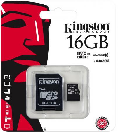 Карта памяти Micro SDHC 16GB Class 10 Kingston SDC10G2/16GB + адаптер