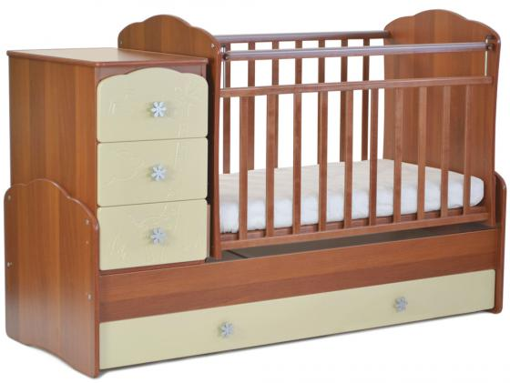 Кроватка-трансформер СКВ-9 (орех/бежевый фасад жираф/940037-9) кроватка скв березка 120117 орех