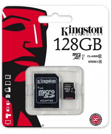 Карта памяти Micro SDXC 128GB Class 10 Kingston SDC10G2/128GB + адаптер micro securedigital 128gb kingston sdxc class 10 sdc10g2 128gbsp