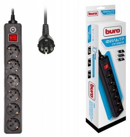 Сетевой фильтр BURO 600SH-5-B 6 розеток 5 м черный сетевой фильтр buro 600sh 5 b
