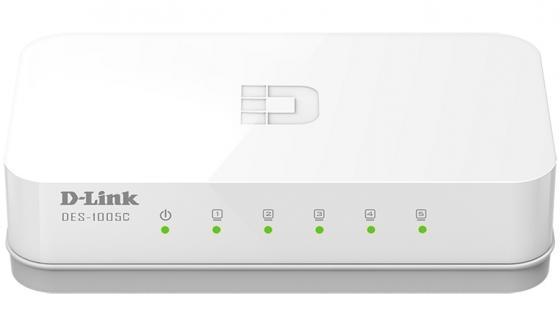 Коммутатор D-LINK DES-1005C/A1A неуправляемый 5 портов 10/100Mbps коммутатор d link des 1016a e1b неуправляемый 16 портов 10 100mbps