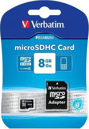Карта памяти Micro SDHC 8GB Class 10 Verbatim 44081 + адаптер карта памяти other jvin 8gtf