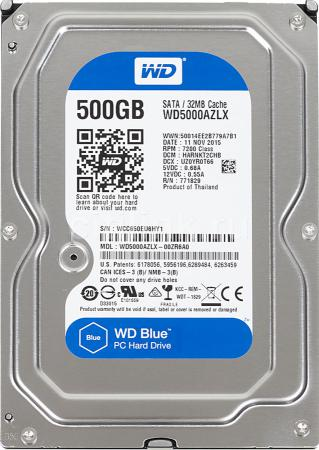 "Жесткий диск 3.5"" 500 Gb 7200rpm 32Mb cache Western Digital Blue Desktop SATAIII WD5000AZLX купить в Москве 2019"